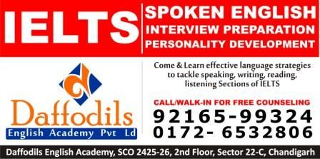 We all feel that speaking good and fluent English is the need of the hour. It is the first step towards success, personal as well as professional. But we often feel that speaking English is a very difficult task. To make it easy, practical and achievable, we have specially designed a spoken English course. Contact: Daffodils English Academy, SCO 2425-26, 2nd Floor, Sector 22-C, Chandigarh, India Pin-160022 Phone Number  9216599324,0172-4605555,0172-4606666.