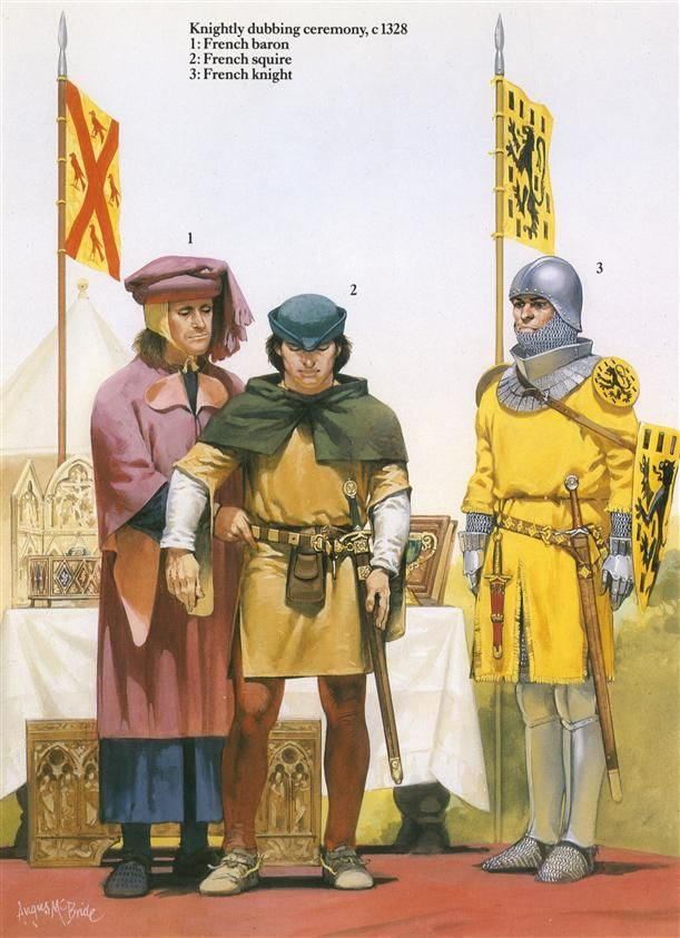 French Medieval Armies 1000–1300 - Knightly dubbing ceremony, c.1328 Osprey Publishing