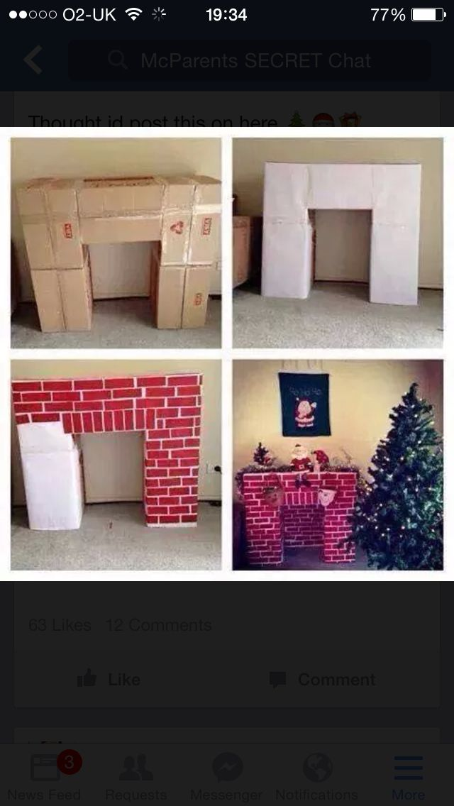 19 best christmas diy fireplace images on pinterest fake how to make a cardboard christmas fireplace create a mock fireplace for santa to come down from cardboard boxes this cardboard fireplace can also serve as solutioingenieria Image collections