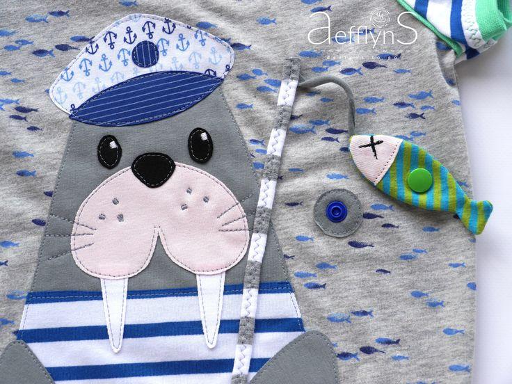 Applikationsvorlage Walross Piet & Pia auf Angeltour   Designbeispiel »aefflynS – to go«   Shop: http://de.dawanda.com/product/101649647-applikation-walross-piet-pia-vorlage-anleitung  https://www.makerist.de/patterns/applikation-walross-piet-pia-vorlage-anleitung