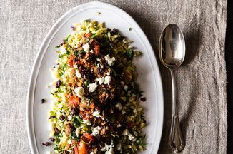 """""""Greek"""" Lamb with Orzo on Food52. Made a half batch for dinner last night, skipped the kalamatas. Delish!"""