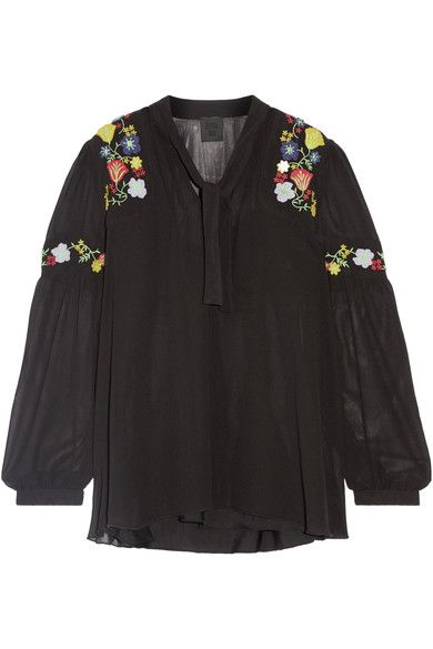 Anna Sui | Garden embroidered georgette blouse | NET-A-PORTER.COM