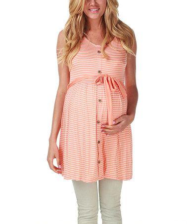 Look at this #zulilyfind! Orange & White Stripe Maternity Tunic by PinkBlush Maternity #zulilyfinds