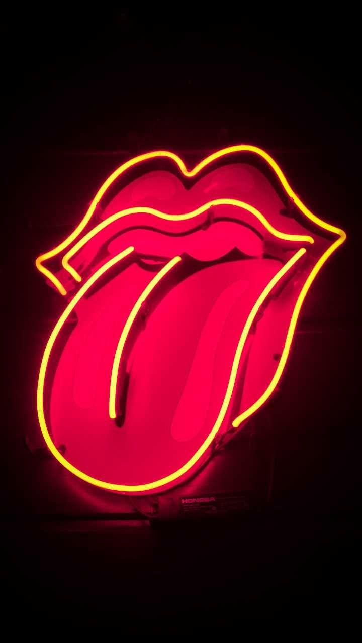 Red Tongue Neon Light Lips Night Dark Photooftheday