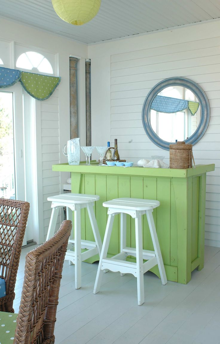 love aqua and lime mixed together for a fresh look!   Outdoor kitchen area.  ???  Make bar area out of pallet wood?