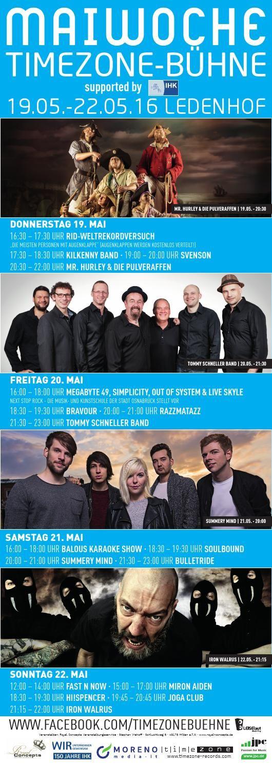Der neue Standort der Timezone-Bühne: Ledenhof. Vom 19.05. - 22.05. findet Ihr uns auf unserem neuen Bühnenstandort am Ledenhof in Osnabrück. Für alle nicht ortskundigen hier ein Link zur Orientierung: https://goo.gl/maps/V1A46dMqfyA2