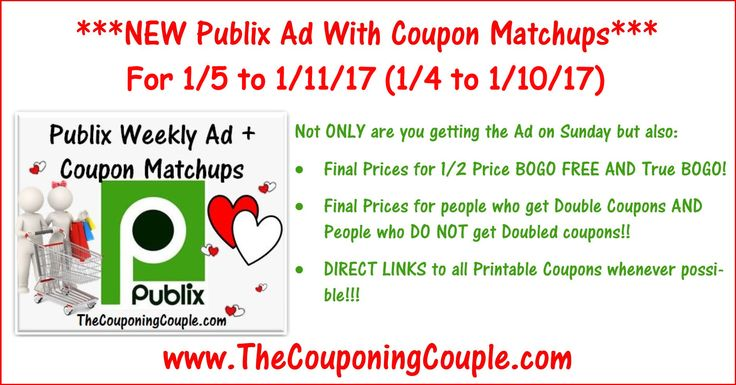 Here is the Publix Ad with coupon matchups for 1-5 to 1-11-17 (1/4 to 1/10 for those whose ad begins on Wed).  Click the link below to get all of the details ► http://www.thecouponingcouple.com/publix-ad-with-coupon-matchups-for-1-5-to-1-11-16-14-to-110/ #Coupons #Couponing #CouponCommunity  Visit us at http://www.thecouponingcouple.com for more great posts!