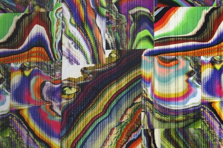 Tricotstof, digitale print, veel kleurig motief, B0758