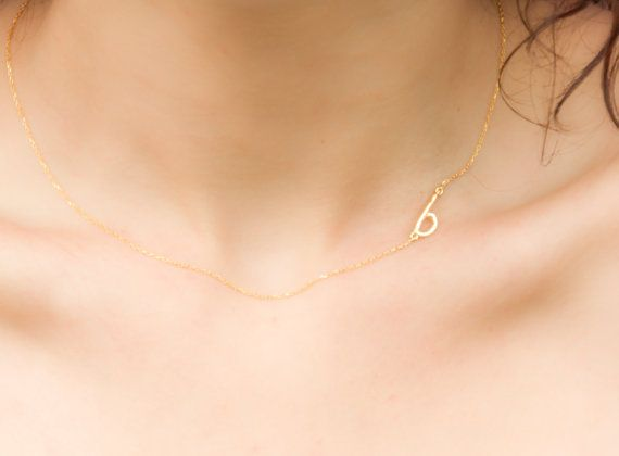Solid Gold Sideways Initial Necklace Gold Initial by eleajewelry, $125.00