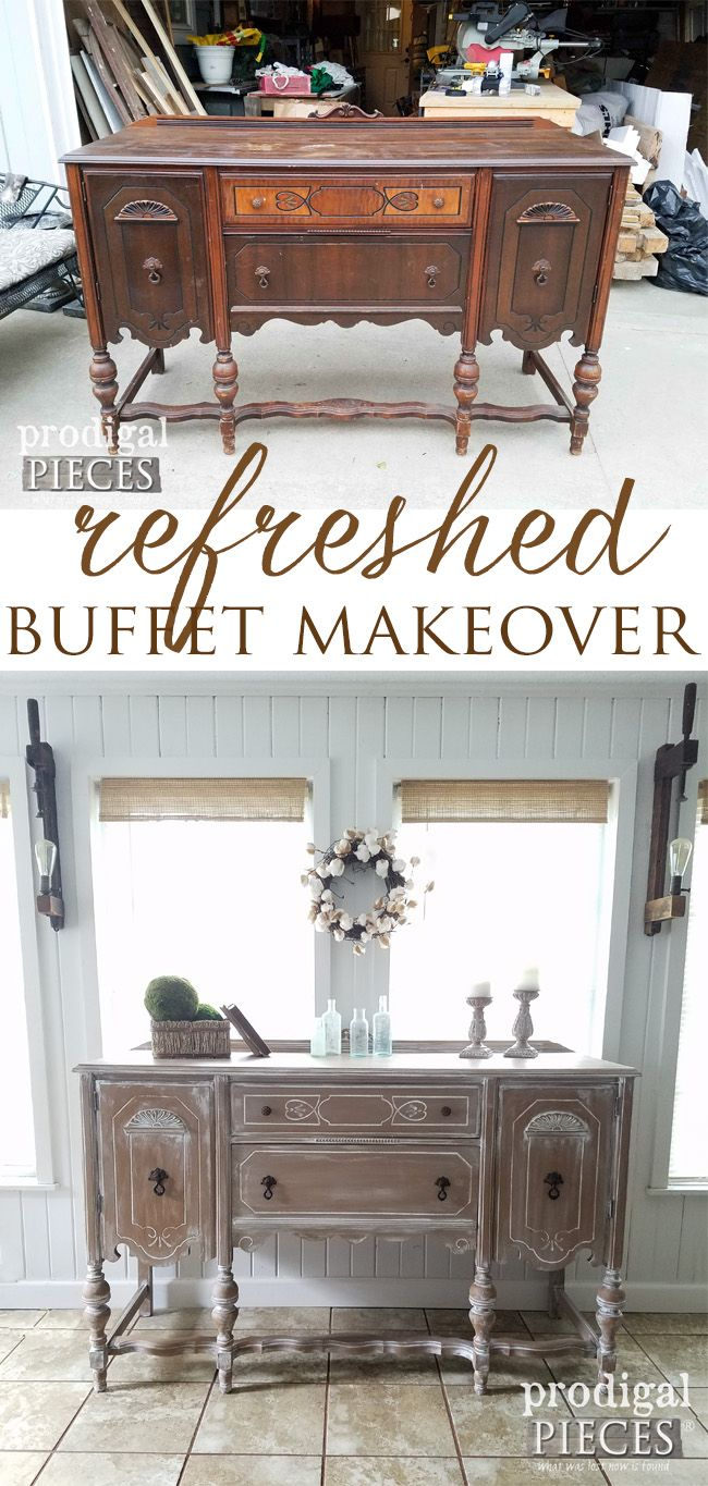 An Antique Buffet gets a stunning makeover using a glazing technique. Come see the pop of color that lies inside. By Prodigal Pieces | prodigalpieces.com