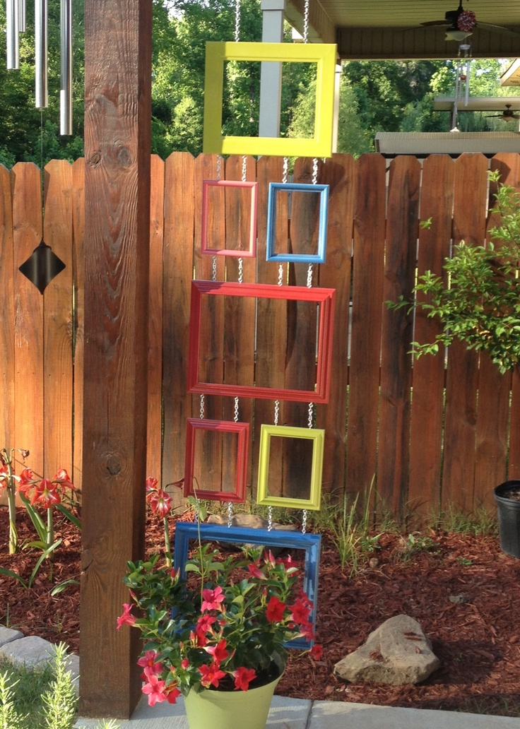 My Idea For A Trellis! Old Picture Frames + Spray Paint + A Bit Of