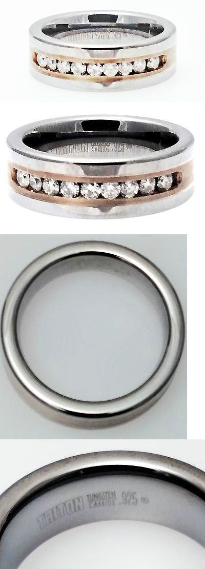 Rings 137856: Triton Tungsten Carbide 925 Sterling Silver And Diamond Mens Ring Size 10 BUY IT NOW ONLY: $297.5