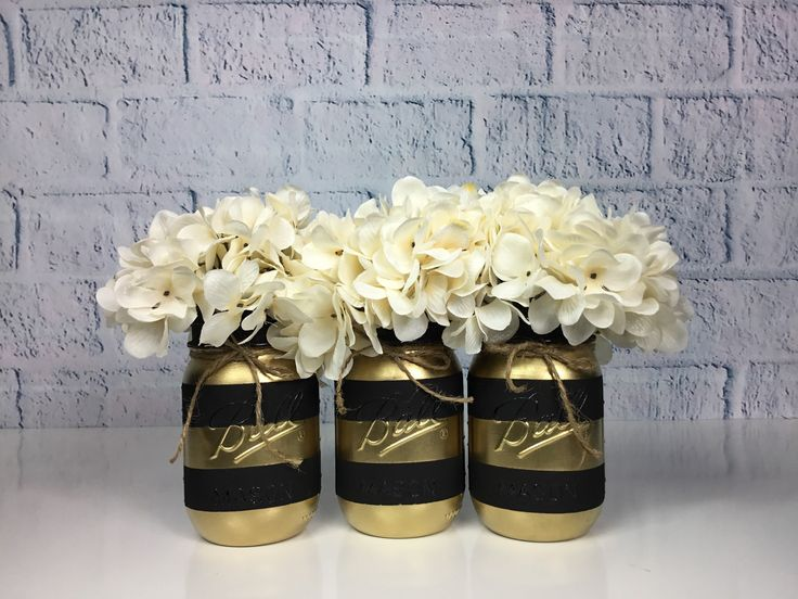 Gold Party Decor, Black and Gold Mason Jar Set, Table Centerpieces, Graduation Decorations, Wedding Decor, Striped Mason Jars, Gold Stripes – xv