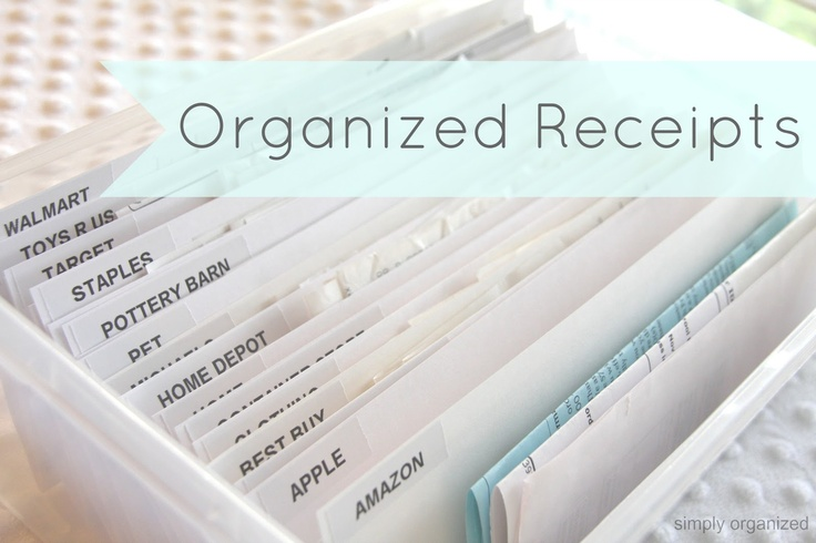 simply organized: organized receipts. I will have to do this for my business receipts.