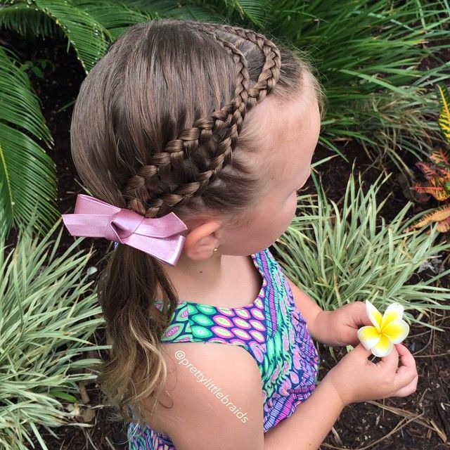 """""""Simple styles for our holiday. Fun to be had!  Crossed lace braids into side ponytail. """" Photo taken by @prettylittlebraids on Instagram, pinned via the InstaPin iOS App! http://www.instapinapp.com (04/02/2015)"""