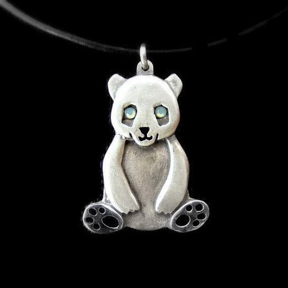 25 best animal jewelry and more images on pinterest animal sterling silver panda necklace cute panda pendant by netagilboa aloadofball Images