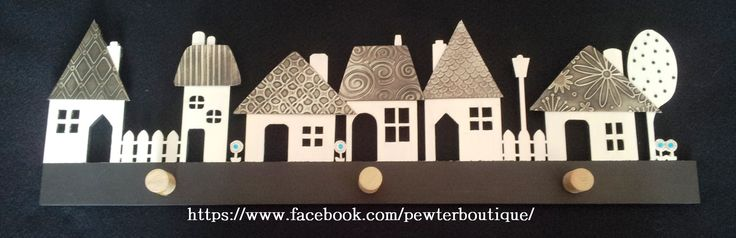 Row of houses key holder. Perfect for scarfs too.