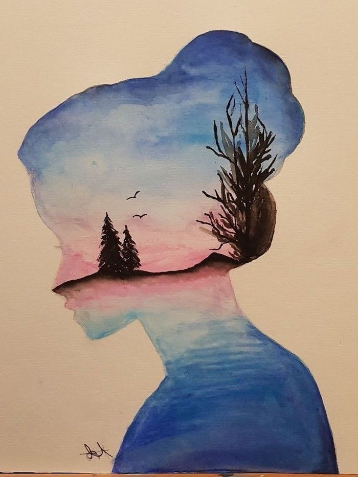 Nature Inside A Woman S Head Watercolour Painting How To Draw Step By Step For Beginners White Background Cool Drawings Draw On Photos Watercolor Art Diy