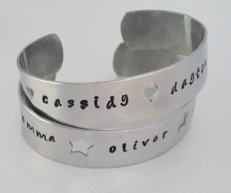 My items easy to buy over here :o) Personalised Aluminium Cuff bangles - The Supermums Craft Fair