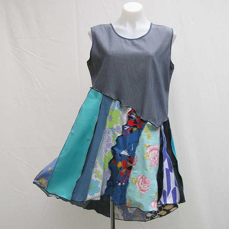 Blue upcycled dress, plus size dress, blue dress, refashioned dress, XL deconstructed dress, boho dress, festival dress, asymmetrical dress by Rethreading on Etsy