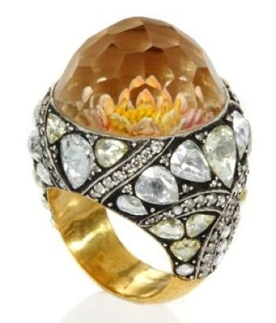 sevan bicakci diamond + carved flower ring 3680