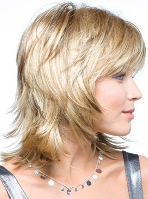 Side View of Layered Shag Hairstyle for Thick Hair