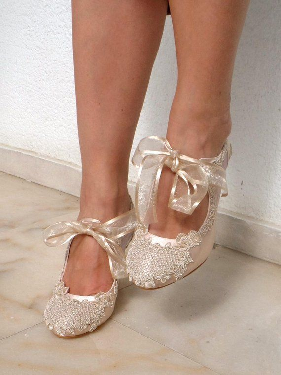 Ivory Champagne Tulle Wedding Shoes Bridal Shoes Champagne