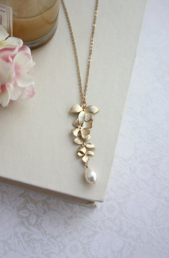 Long Orchid Flowers Pearl Gold Necklace. Gold Orchid Jewelry. Bridesmaids Gifts. Gold Cascading Orchids Flowers, Pearl Wedding Jewelry, Sis 25