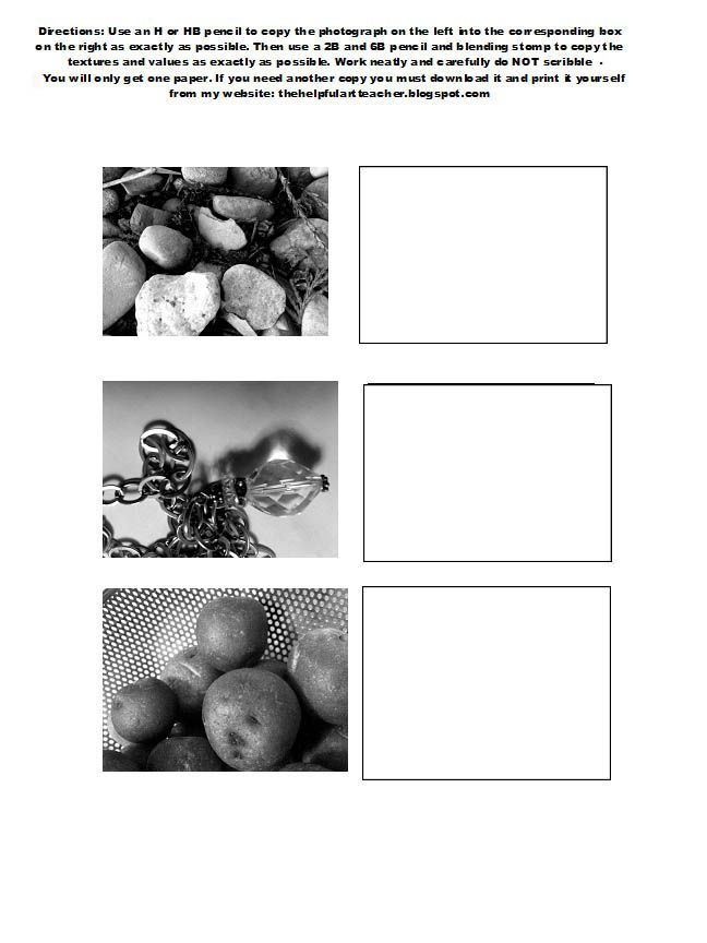 @Patti Fields- Visual Texture- The Helpful Art Teacher: Creating visual texture with pencil/ Directions in English and Spanish