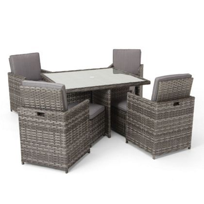 Pacific Grey 4 Seater Rattan Effect Garden Cube Set