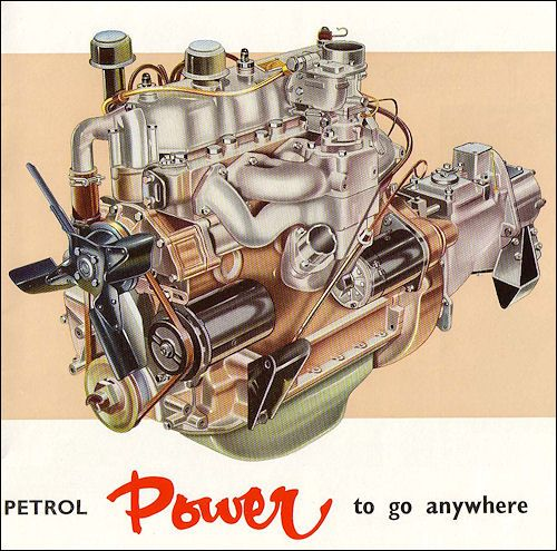 The 2¼-litre overhead valve petrol engine develops 77 bhp at 4,250 rpm. and has a torque of 124 lb. ft. at 2,500 r.p.m. Thus, there is abundant power available for vehicle operation, hauling trailers or driving machinery. Power that is smooth and willing for normal work ; slogging, determined power for tough assignments. This is an outstandingly reliable engine, its robust construction giving it a long and trouble-free life.