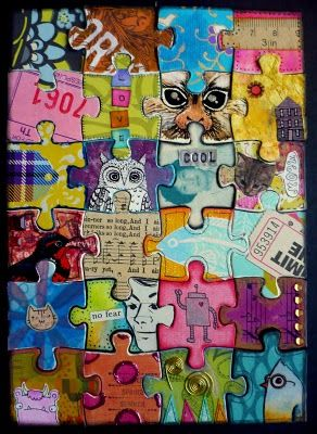 doodles, music ledgers, photographs, fabrics, old ticket stubs and some metal elements as well - on old puzzles