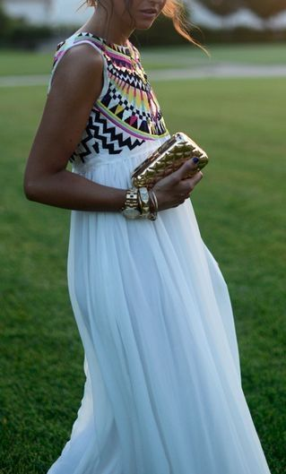 White maxi dress with tribal print embroidered top. Gorgeous!