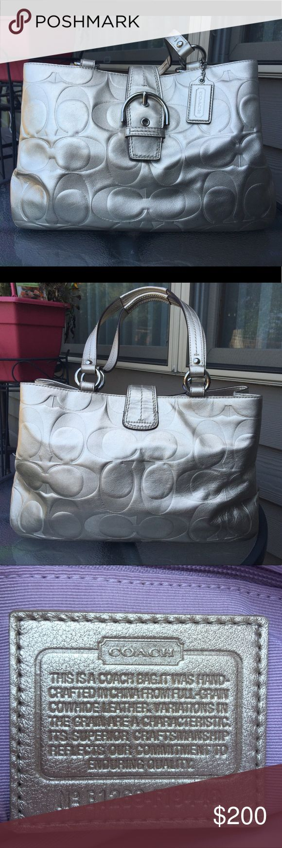 COACH ONE-OF-A-KIND Beautiful Pewter Color! VERY UNIQUE Coach Bag in a beautiful pewter color with a light purple interior.  Like New! Coach Bags Shoulder Bags
