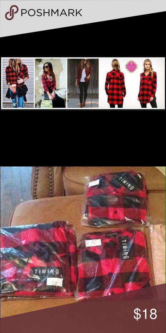 Red and Black Long Flannel Shirt Super cute Timing brand, new sz Small Loose Long Flannel long shirt . Bought for $29 selling for $18 Tops Button Down Shirts