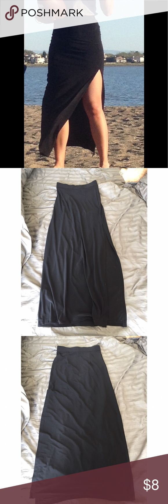 Black Maxi Skirt with Side Slit Seam on one side is coming loose, will need to restitch, but otherwise an easy fix. Great wardrobe staple. Forever 21 Skirts Maxi