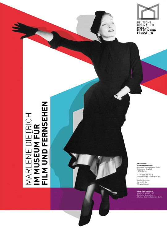 Poster designed by Justus Oehler for the Marlene Dietrich collection at the Deutsche Kinemathek, 2009.
