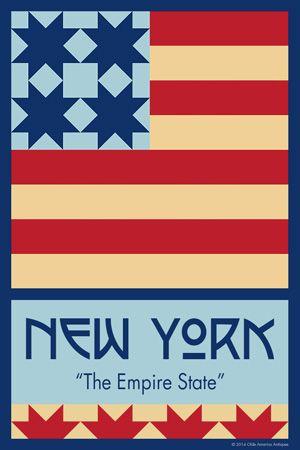 Olde America Antiques   Quilt Blocks   National Parks   Bozeman Montana : 50 STATE QUILT BLOCK SERIES - NEW YORK - version 1
