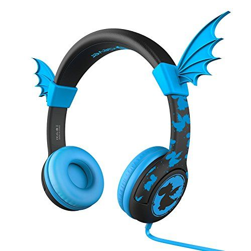 iClever Kids Headphones for School with 85db Volume Limiting BoostCare HS05 Flexible Silicone Dragon Wing Wired Christmas Children's Over the Ear Headsets for iPad Kids Tablet Blue