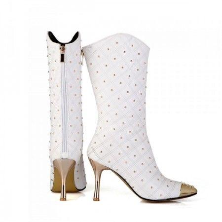 bottes blanches femme avec rivet décoration bout du pied, talons 8.5 cm