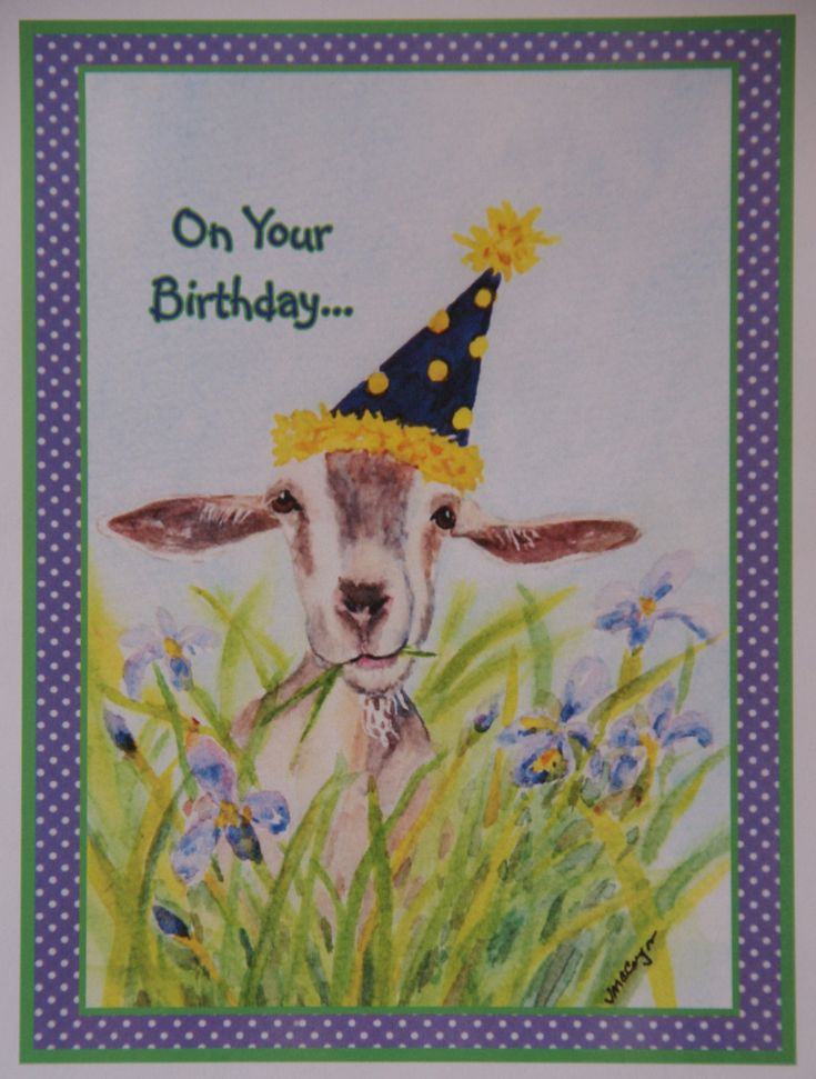 Birthday Goat in Flowers Card.  Inside of card (on 2 lines):  Do what makes you smile!  Happy Birthday by StellaJaneCards on Etsy
