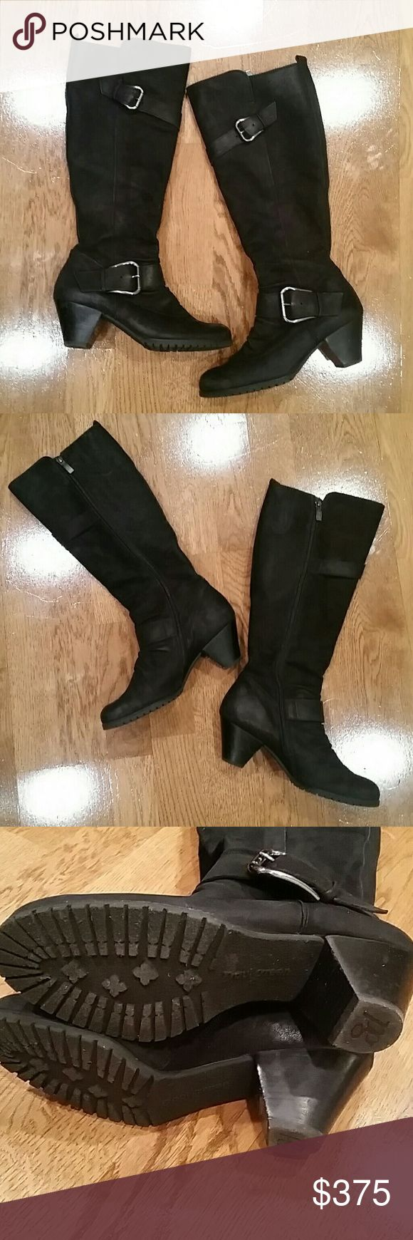 Paul Green Black Suede Double Buckle Boots Cute and comfortable Paul Green black suede double buckle boots, size 6. Only worn a few times and is in excellent condition. Paul Green Shoes Heeled Boots