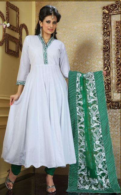 White Thread Work Cotton Anarkali Salwar Kameez