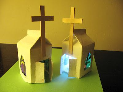 Milk Carton Easter Chapels - sweet Easter craft for kids.