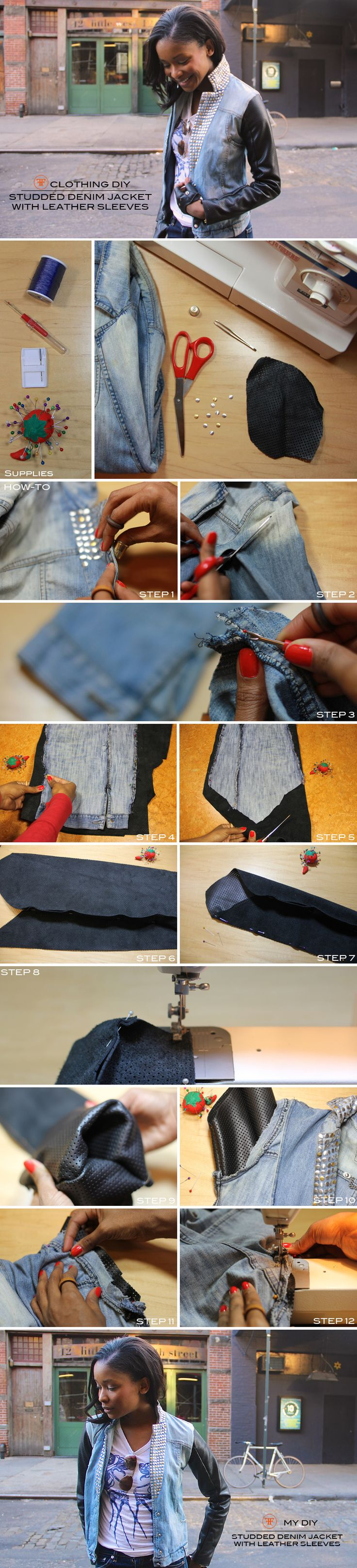 Frugal-nomics DIY :: Studded Denim Jacket with Leather Sleeves. Details at http://frugal-nomics.com/2013/01/diy-studded-denim-jacket-with-leather-sleeves/
