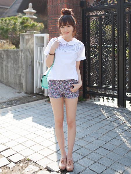 Korean Fashion Clothing Blouses Beauty Fashion Style Pinterest Shorts Kpop And Floral Shorts