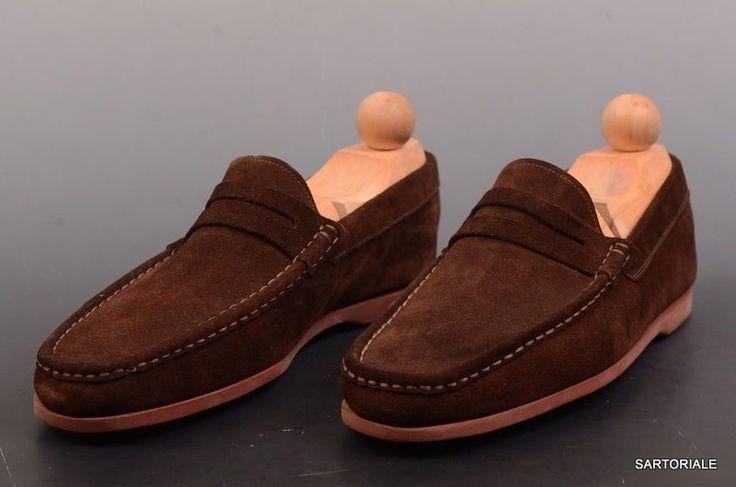 "RUBINACCI Napoli ""Boat Mocassin"" Brown Suede Loafer Casaul Shoes EU 39 NEW US 6"