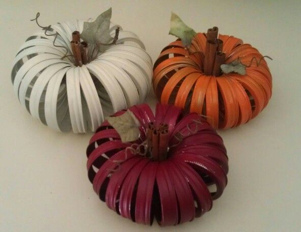 Pumpkin trio in fall colors...made out of canning jar rings...thanks Pinterest...there is now a shortage of these rings... sold out everywhere I go.  :)