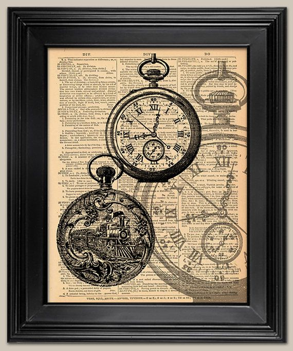 Pocket Watch Vintage Art Print. Vintage Book Page Art Print. Print On Book  Page. Fatheru0027s Day Gift