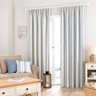 Padstow Blue Lined Pencil Pleat Curtains